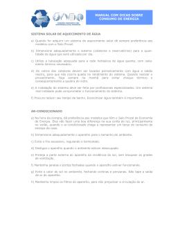 MANUAL COM DICAS SOBRE CONSUMO DE ENERGIA