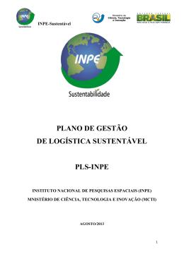 PLANO DE GESTÃO DE LOGÍSTICA SUSTENTÁVEL PLS-INPE