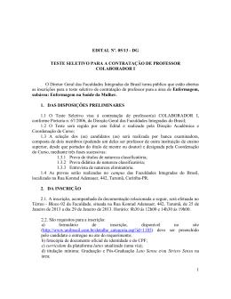 Edital n° 05/13 - Teste Seletivo para Contratação de