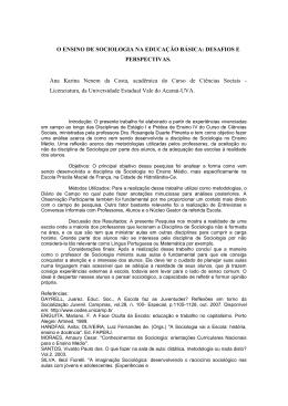 O ENSINO DE SOCIOLOGIA NA EDUCAÇÃO BÁSICA
