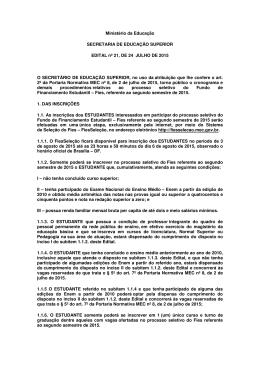 Ministério da Educação SECRETARIA DE EDUCAÇÃO SUPERIOR