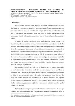 RE-SIGNIFICANDO A DISCIPLINA TEORIA DOS NÚMEROS NA