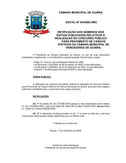 câmara municipal de guaíra edital nº 04/2009