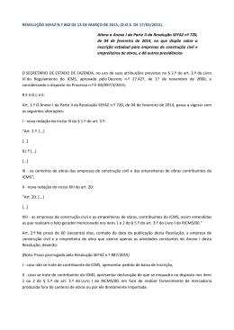 RESOLUÇÃO SEFAZ N.º 862 DE 13 DE MARÇO - Sinduscon-Rio
