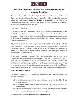 Edital de convocação de Monitores para o VI Encontro de Iniciação
