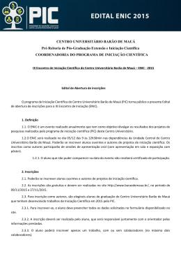 CENTRO UNIVERSITÁRIO BARÃO DE MAUÁ Pró Reitoria de Pós