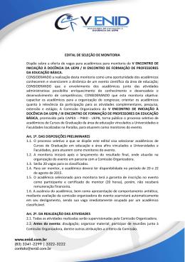 EDITAL DE SELEÇÃO DE MONITORIA Dispõe sobre a