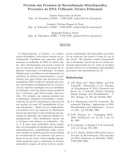 Oral Previsão dos produtos de recombinação sítio
