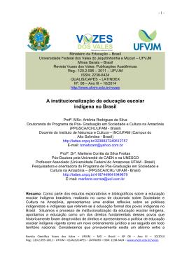 A institucionalização da educação escolar indígena no Brasil