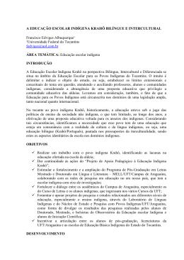 a educação escolar indígena krahô bilíngue e intercultural