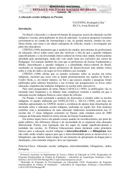 A educação escolar indígena no Paraná. FAUSTINO