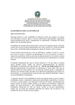 Glossário de Educação Especial - Governo do Estado do Rio de