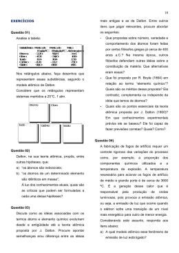EXERCÍCIOS Questão 01) Analise a tabela: Nos