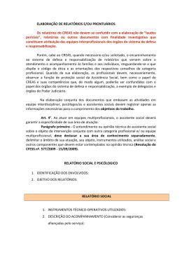 ELABORAÇÃO DE RELATÓRIOS E/OU PRONTUÁRIOS Os