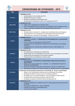 CRONOGRAMA DE ATIVIDADES - CPA 2015