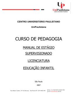 MANUAL ESTÁGIO EDUCAÇÃO INFANTIL