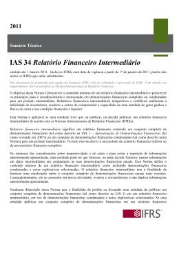 IAS 34 Relatório Financeiro Intermediário