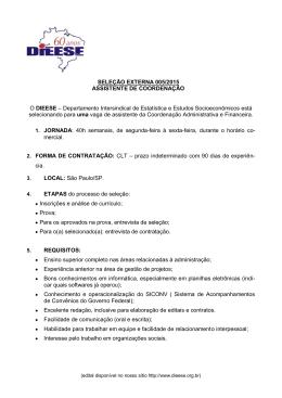 SELEÇÃO EXTERNA 005/2015 ASSISTENTE DE