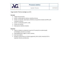 Processo seletivo Vaga Auxiliar Técnico (estágio ou CLT)