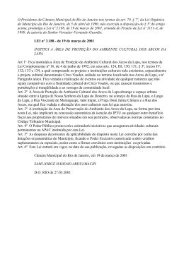 LEI nº 3.188 - de 19 de março de 2001 ARCOS DA LAPA
