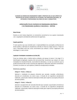 APRECIAÇÃO PELOS COLÉGIOS DE ENGENHARIA MECÂNICA E