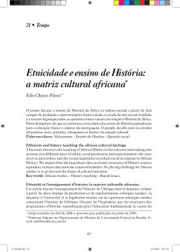 Etnicidade e ensino de História: a matriz cultural africana*