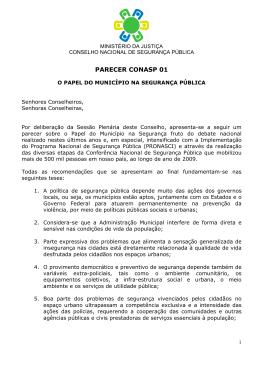 Parecer Conasp 01 - Ministério da Justiça