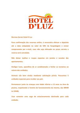 Normas Gerais Hotel D Luz Para confirmação das reservas on até a
