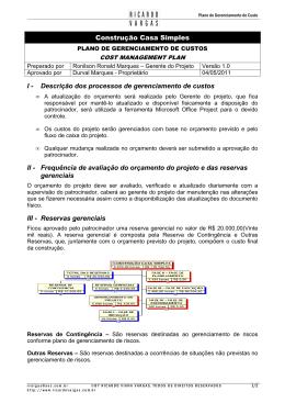 05 - Plano de Gerenciamento de Custo