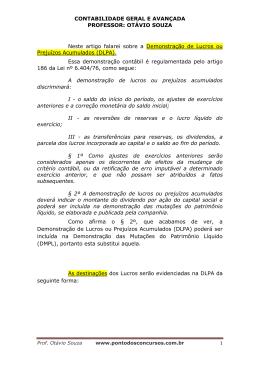 CONTABILIDADE GERAL E AVANÇADA PROFESSOR: OTÁVIO
