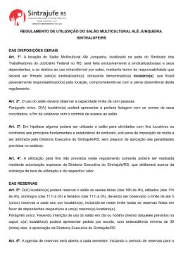 REGULAMENTO DE UTILIZAÇÃO DO SALÃO DA SEDE