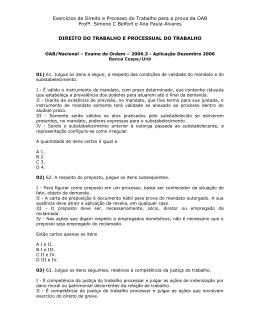 Exercícios de Direito e Processo do Trabalho para a prova da OAB