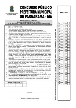 PROVA ENFERMEIRO PLANTONISTA - Nucepe
