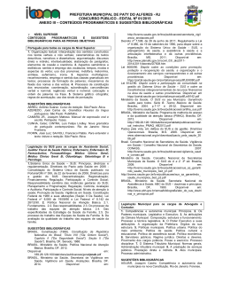 Anexo III - Conteúdos programáticos e sugestões bibliográficas