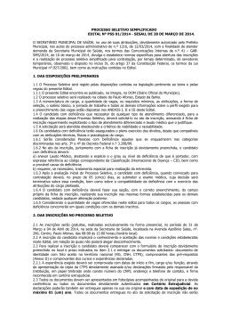 EDITAL Nº PSS 01/2014 - SESAU, DE 28 DE MARÇO DE 2014. O