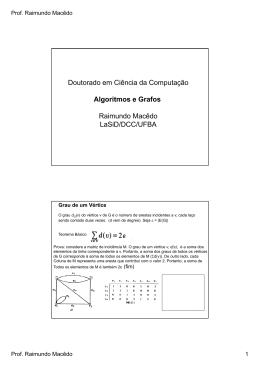 Doutorado em Ciência da Computação Algoritmos e Grafos