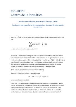 Lista 2 de exercícios - Centro de Informática da UFPE