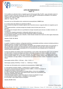 LISTA DE EXERCÍCIOS 01 Profº. TJ