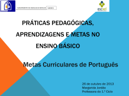Práticas Pedagógicas, aprendizagens e metas no ensino básico