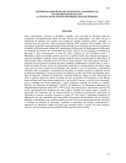 o ensino da disciplina de matemática em portugal em meados do