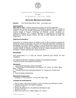 DISCIPLINA: MECÂNICA DOS FLUIDOS Docente: Prof. Doutor