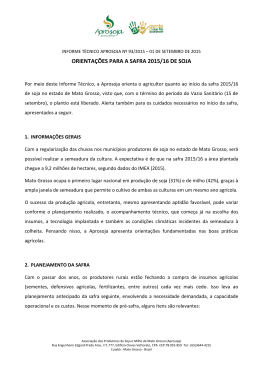 ORIENTAÇÕES PARA A SAFRA 2015/16 DE SOJA