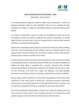 Segurança Rodoviária dentro das localidades – peões Diogo