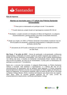 Abertas as inscrições para a 11ª edição dos Prêmios Santander