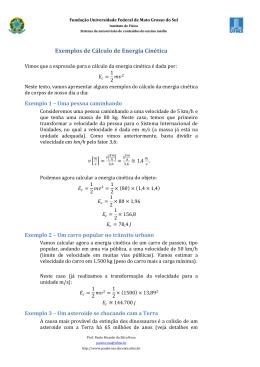 Exemplos de Cálculo de Energia Cinética