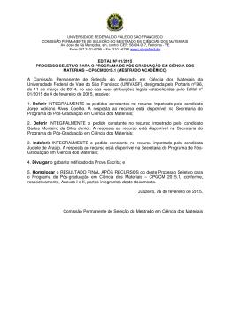 A Comissão Permanente de Seleção do Mestrado em