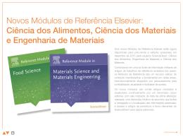 Novos Módulos de Referência Elsevier: Ciência dos Alimentos