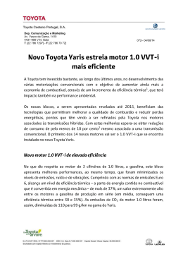 Novo Toyota Yaris estreia motor 1.0 VVT