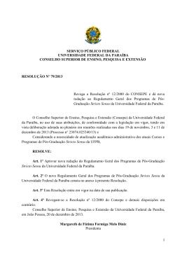 Regulamento Geral dos Programas de Pós