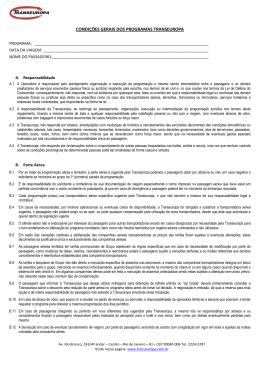 CONDIÇÕES GERAIS DOS PROGRAMAS TRANSEUROPA